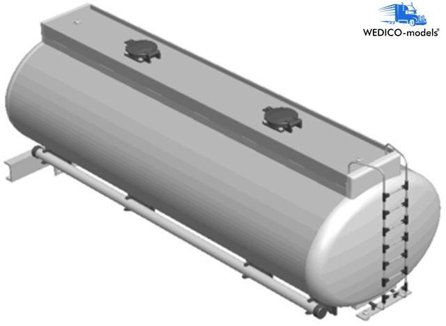 Tank body oval, white f. 3-axle trailer