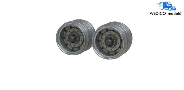 Alloy wheels for rear drive axle for twin tires