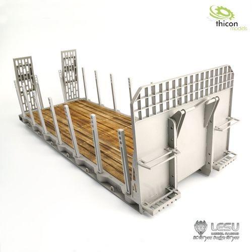 1:14 Abroll-Flachbett-Aufbau mit Rampen und Rungen V2A