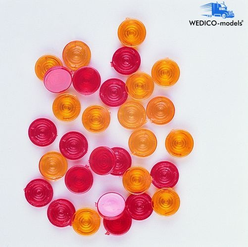 Beleuchtungsgläser flach, rot + orange