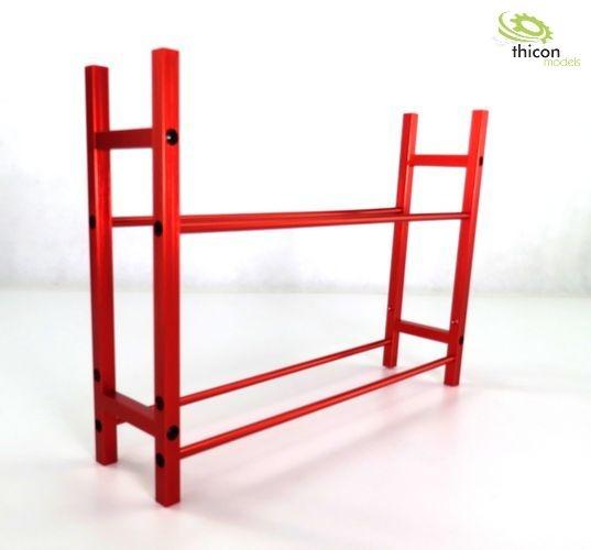 Red pallet rack made of metal