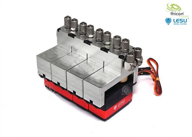 Hydraulic control valve aluminum 4-fold with servos