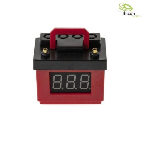 Autobatterie rot mit Spannungsanzeige und Lipo-Wächter