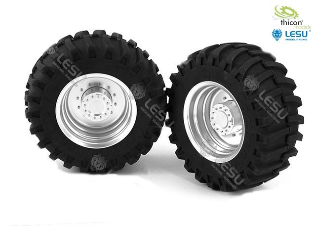 1:16 pair of tractor rims in front