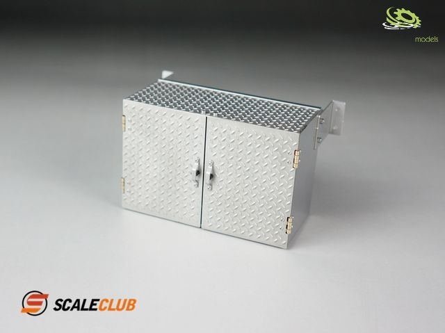 1:14 storage box 90mm with double doors checkered plate V2A