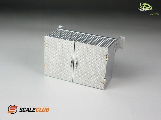 1:14 Staubox 90mm mit Doppeltüren Riffelblech V2A