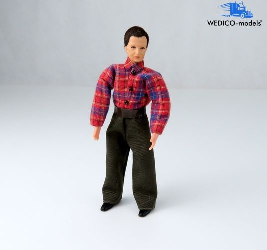 Truck driver Michael with plaid shirt - bending figure