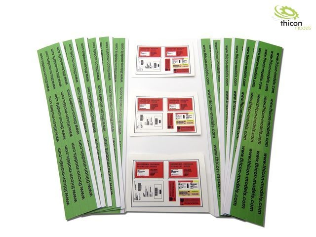 Package sticker set with shipping labels and packing tape