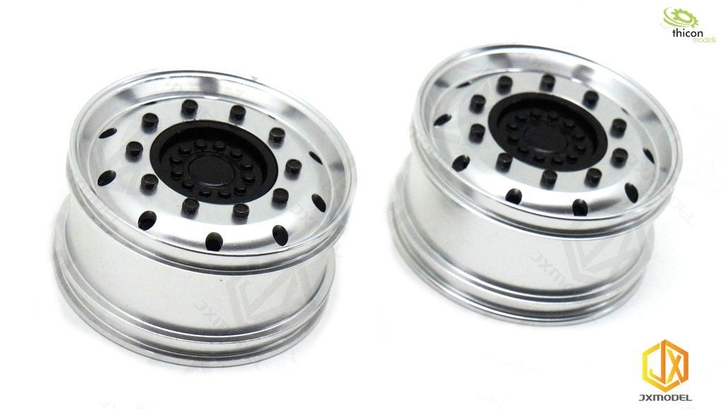 1:14 alloy wheels in front for wide tires