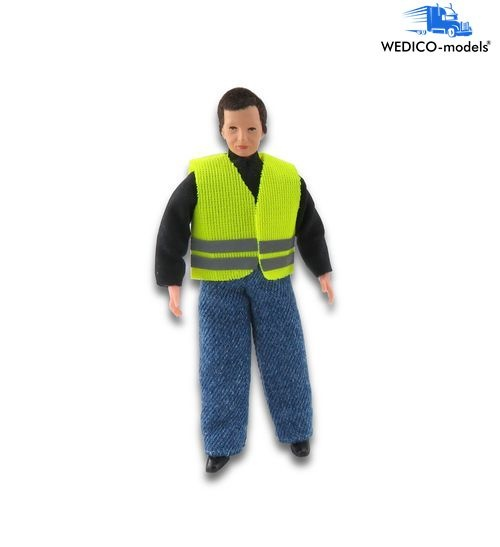 Truck driver with yellow warning vest - bending figure
