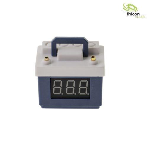 Autobatterie blau mit Spannungsanzeige und Lipo-Wächter