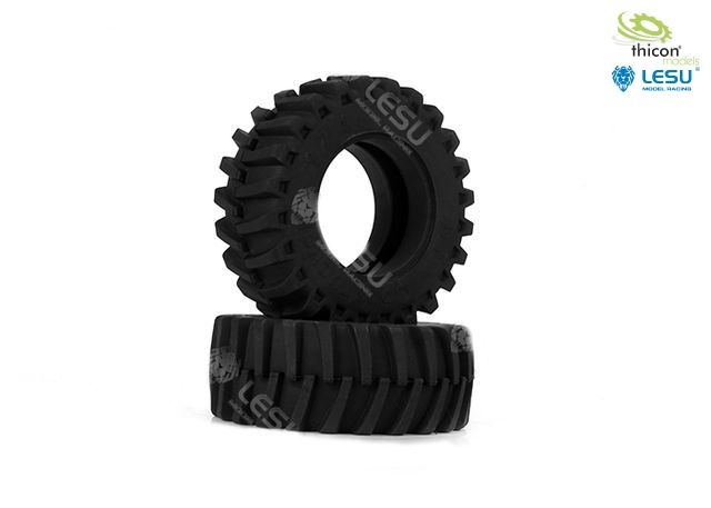 1:16 pair of tractor tires in front