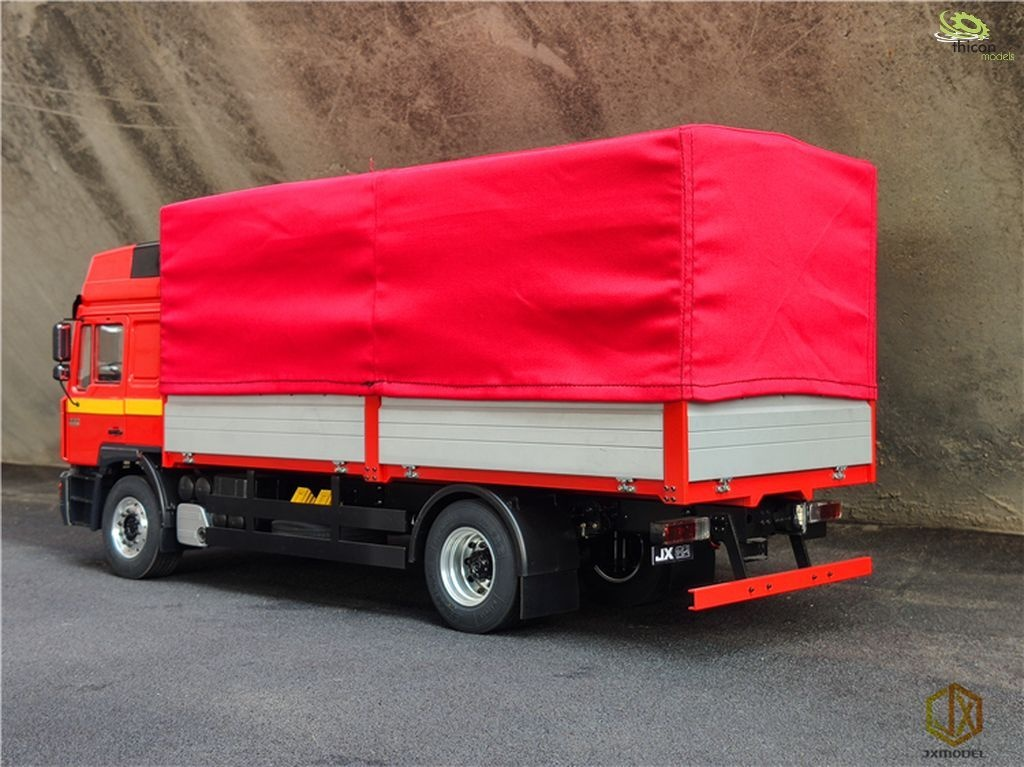 Tarpaulin red with frame made of aluminum for flatbed