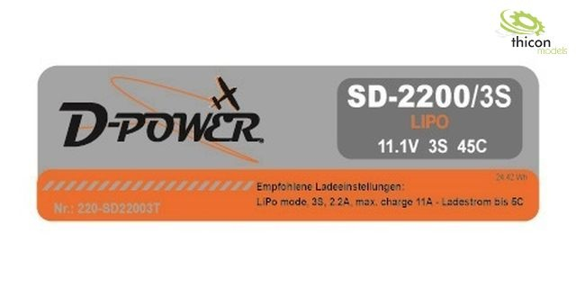 D-Power SD-2200 3S Lipo (11,1V) 45C - T-Stecker
