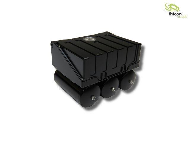 1:16 Batteriekasten aus Alu schwarz mit Druckluftkessel