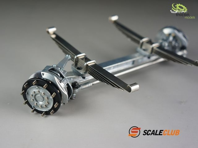 1:14 front axle V2A with springs, hub and disc brake