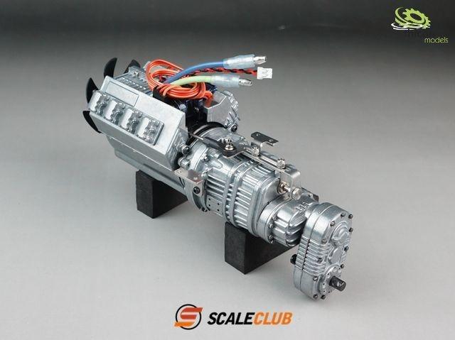 Scale Allradgetriebe 3-Gang mit Motor,Lüfter und Schaltservo