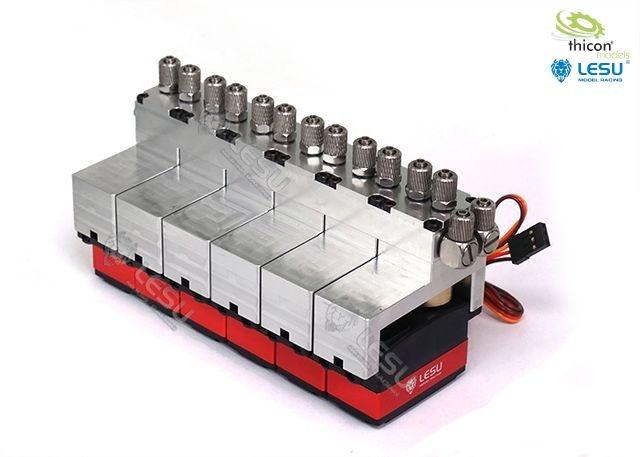 Hydraulic control valve aluminum 6-fold with servos
