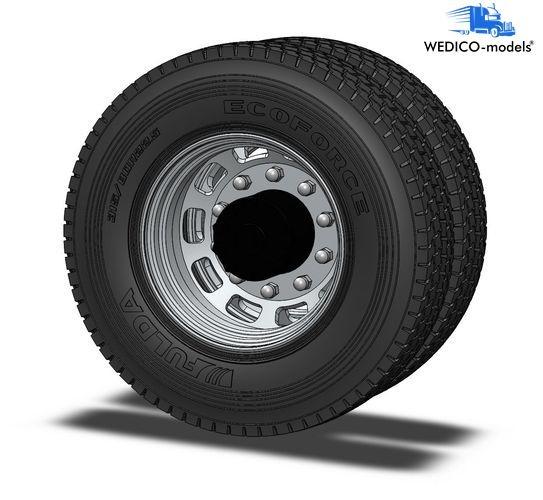 Aluminum long hole rims, hub black RAL9005 for drive axle 2x