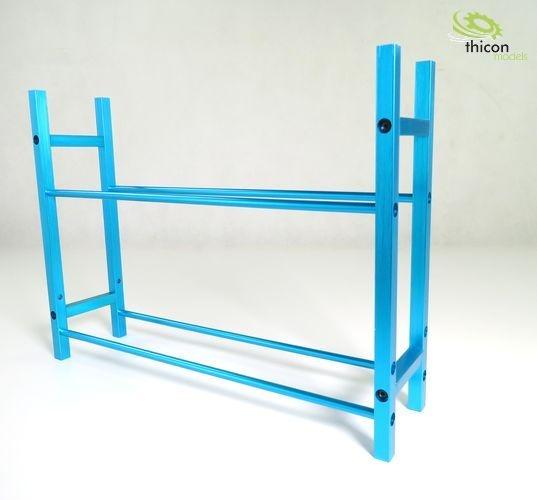 Blue metal pallet rack