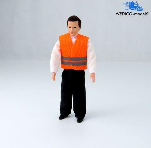 LKW-Fahrer Jörg mit Warnweste orange - Biegefigur