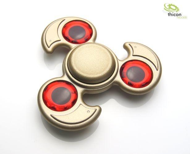 Fidget Spinner Premium Dreiblatt mit Stein rot, Alu gold